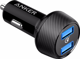 Anker Powerdrive Speed Autolader Dual USB 6A Zwart