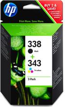 HP 338/343 Cartridge Zwart + Combo Pack 3-Kleuren (SD449EE)