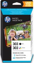 HP 303 4-Kleuren Pack en 40 vel 10x15cm (Z4B62EE)