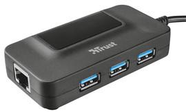 Trust Oila 3 Port USB 3.0 Hub met netwerk