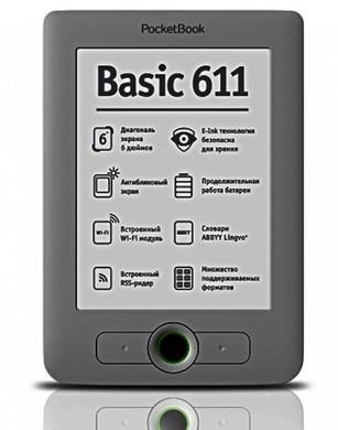PocketBook 611 eReader Dark Grey + Thuislader + Case