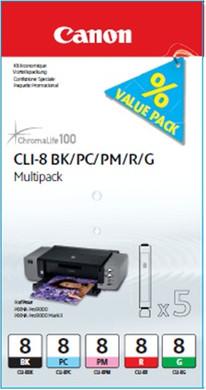 Canon CLI-8 Multi-Pack (BK/PC/PM/R/G) (0620B027)