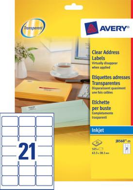 Avery Adresetiketten Transparent Inktjet 63,5x38,1mm