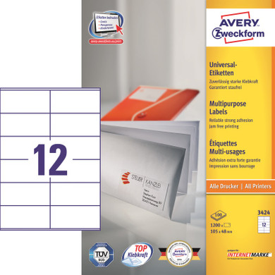 Avery Universele Etiketten Wit 105x48mm 100 vellen