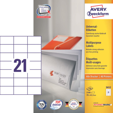 Avery Universele Etiketten Wit 70x42,3mm 100 vellen
