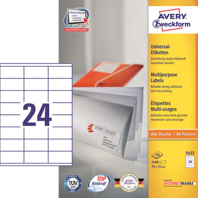 Avery Universele Etiketten Wit 70x35mm 100 vellen