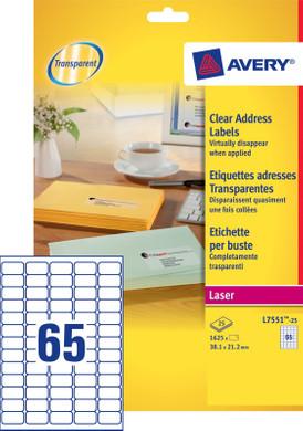 Avery Mini Etiketten Transparant 38,1x21,2mm 25 vellen