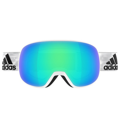 Adidas Progressor S White Shiny + Blue Mirror Lens
