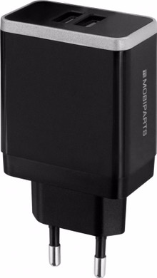 Mobiparts Thuislader Dual USB 2.4A Zwart