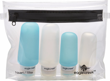 Eagle Creek Silicone Bottle Set Clear/Aqua