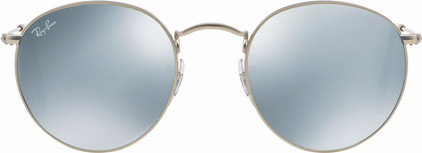 Ray-Ban Round RB3447 Matte Silver / Green Mirror Silver