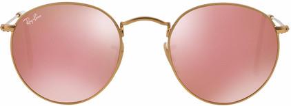 Ray-Ban Round RB3447 Matte Gold / Brown Mirror Pink