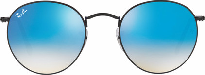Ray-Ban Round RB3447 Shiny Black / Mirror Gradient Blue