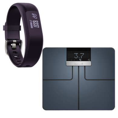 Garmin Index Smart Scale Zwart + Vivosmart 3 HR Paars S/M