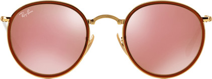 Ray-Ban Round RB3517 Gold / Brown Mirror Pink Lens