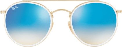 Ray-Ban Round Double Bridge RB3647N Gold / Gradient Brown Mirror Blue