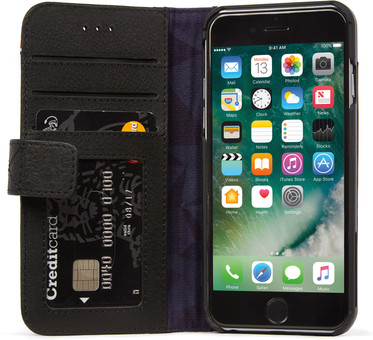 Decoded Wallet Apple iPhone SE 2/8/7/6/6s Book Case Leather Black