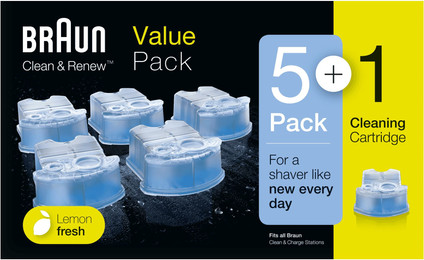 Braun Cleaning Fluid Clean & Renew Cartridges (5+1 units)