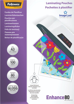 Fellowes Laminating Sheets Enhance 80mic A3 (100 units)