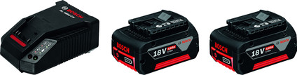 Bosch Professional Battery Charger + Battery 18V 6.0Ah (2x)