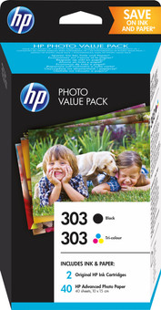 HP 303 Cartridges Combo Pack + 40 sheets of 10x15 photo paper