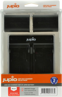 Jupio Kit: 2x Battery LP-E6 1700mAh + USB Dual Charger