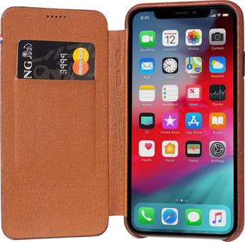 Decoded Leather Slim Wallet Apple iPhone X / Xs Book Case Brown