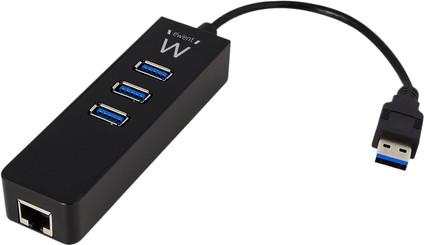 Ewent 3 PortsUsb-A 3.0 Hub Met Gigabit Ethernet