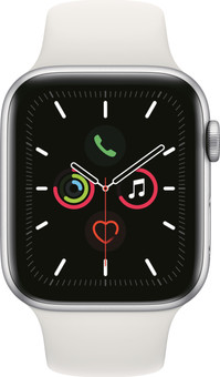 Apple Watch Series 5 44mm Silver Aluminum White Sport Band