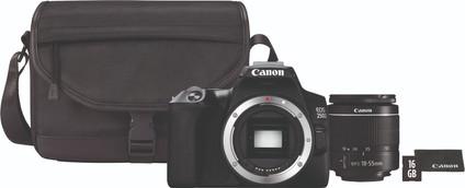 Canon EOS 250D Black + 18-55mm f / 3.5-5.6 DC III + Case + 16GB memory card + cloth