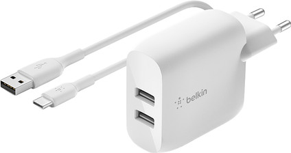 Belkin BoostCharge Charger 2 USB Ports with USB-C Cable 12W