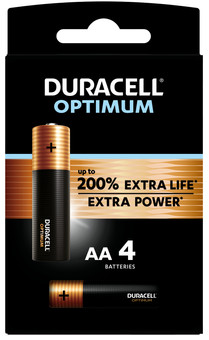 Duracell Alka Optimum AA batteries 4 units