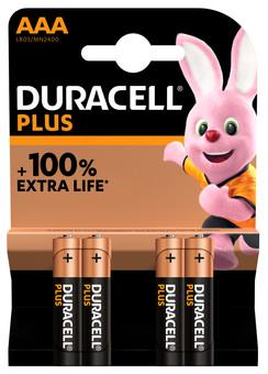 Duracell Alka Plus AAA batteries 4 units