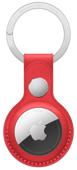 Apple AirTag Leather Key Ring Red