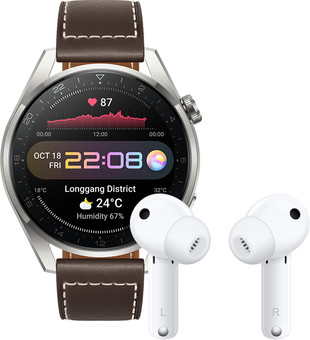 Huawei Watch 3 Pro Classic 4G Silver/Brown 49mm with Earbuds