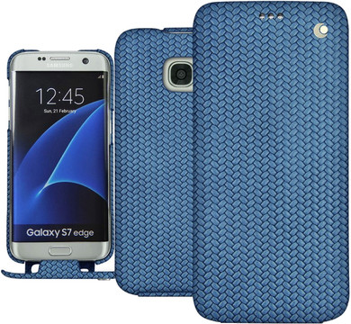 Noreve Tradition Woven Leather Case Galaxy S7 Edge Blauw