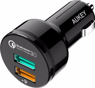 Aukey Autolader Dual USB 3,0A Zwart