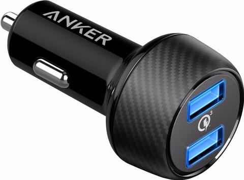 Anker Powerdrive Speed Autolader Dual USB 6A Zwart