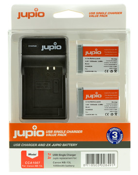 Jupio Kit: Battery NB-13L (2x) + USB Single Charger