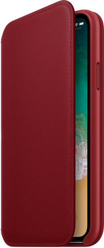 Apple iPhone X Leather Folio Book Case RED Main Image