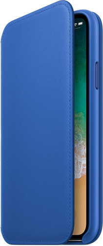 Apple iPhone X Leather Folio Book Case Electric Blue Main Image