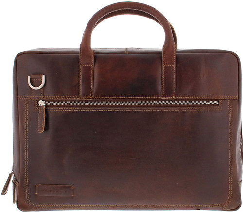 "Plevier Vintage Leather Laptop Bag 15.6"" Dark Brown Main Image"