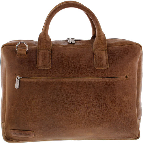 Plevier Toploader Cowhide Leather Laptop Bag 17.3 inches Cognac Main Image