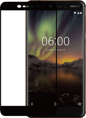 Azuri Nokia 6 (2018) Screen Protector Tempered Glass Black Main Image