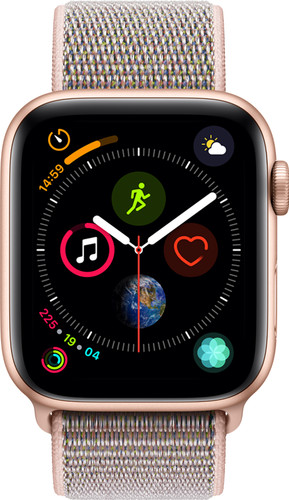 Apple Watch Series 4 44mm Goud Aluminium/Roze Nylon Sportband Main Image