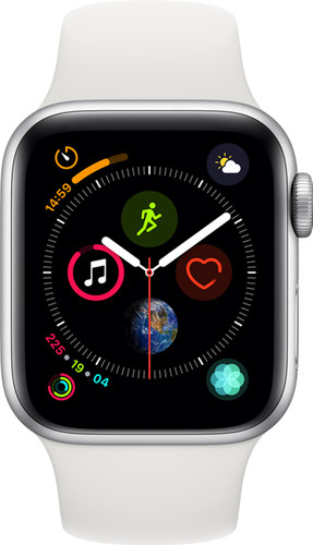 Apple Watch Series 4 40mm Zilver Aluminium/Witte Sportband Main Image