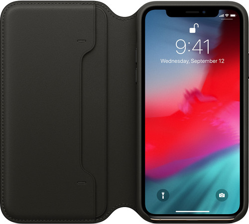 Apple iPhone Xs Leather Folio Book Black Main Image