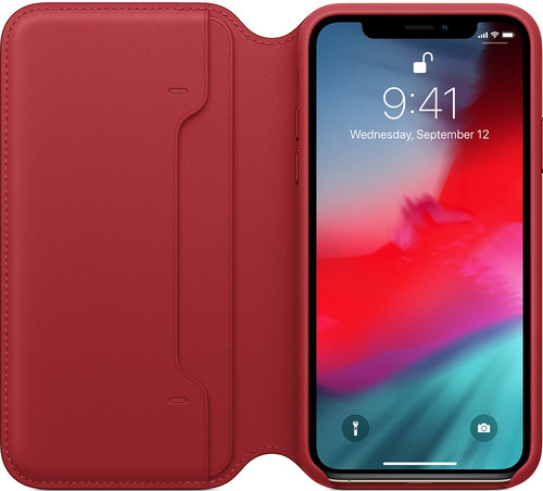 Apple iPhone Xs Leather Folio Book RED Main Image
