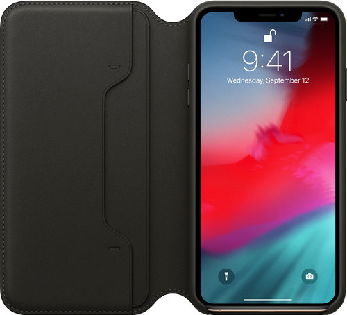 Apple iPhone Xs Max Leather Folio Book Black Main Image