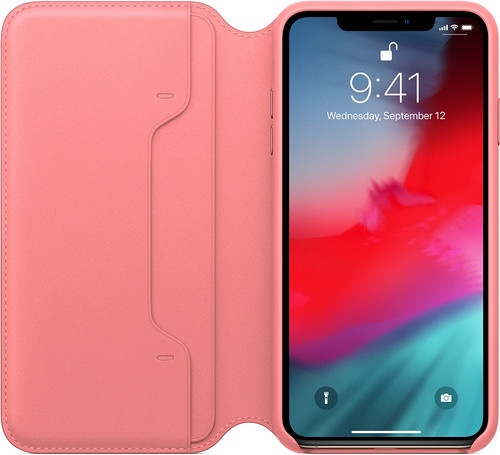 Apple iPhone Xs Max Leather Folio Book Peony Pink Main Image